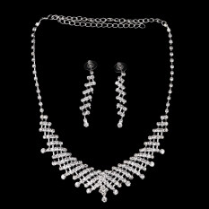 Harga Allwin Pernikahan Pengantin Prom Perhiasan Berlian Imitasi Kristal Kalung And Anting Anting Yang Ditetapkan Terbaru