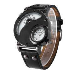 Allwin Mewah Pria Kuarsa-watch Dual Time Leather Band Watch HP9591B untuk Outdoor Perjalanan Hitam-Intl