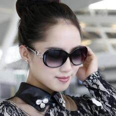 Allwin New Fashion Wanita Vintage Retro Terlalu Gede Kacamata Hitam Kacamata Luar Ruangan Hitam