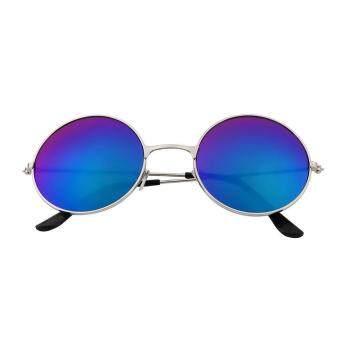 Allwin Wanita Pria Anti Silau Cermin Lensa Kacamata Warna Vintage Kacamata  Bulat Biru 85229e8b0d