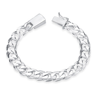 Harga Amart Man's Fashion Jewelry 925 Sterling Silver 10 mm Square Buckle Sideways Chain Bracelet For Unisex