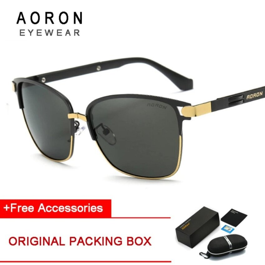Hitam Terpolarisasi Men's Klasik Bingkai Cermin Mengemudi Kacamata Kolam Kacamata Leisure Eyewear.