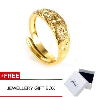 Harga Arche Flower Cut Carved Adjustable Fashion Designer Gold Ring (Gold)