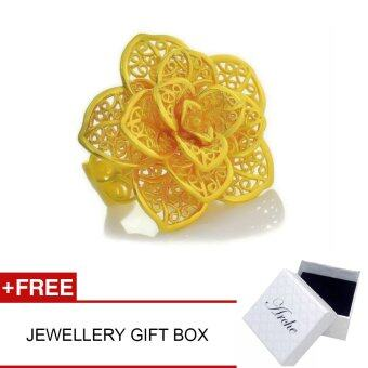 Harga Arche Romantic Flower Carved Adjustable Fashion Designer Gold Ring (Gold)
