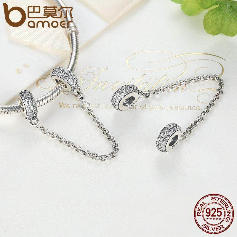 Jual Bamoer 100 925 Sterling Silver Membuka Inspirasi Safety Chain Clear Cz Stopper Charms Fit Gelang Diy Perhiasan Psc011 Di Tiongkok