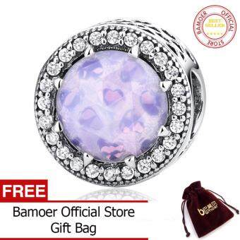 Harga BAMOER 100% 925 Sterling Silver Radiant Hearts, Opalescent Pink Crystal & Clear CZ Fit Charms Bracelets DIY Jewelry PAS391