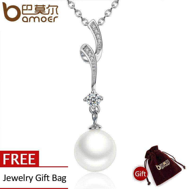 Diskon Besarbamoer 100 925 Sterling Silver Shell Pearl Wave Chain Long Pendant Necklaces Wedding Jewelry Necklace Accessories Scn048