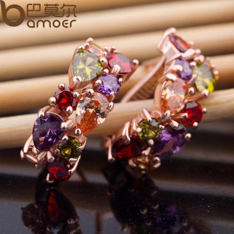 Spesifikasi Bamoer 18K Real Gold Plated Gold Unique Stud Earrings With Multicolor Aaa Zircon Stone Nickel Cadmium Free Jewelry Jie020 Bamoer Terbaru