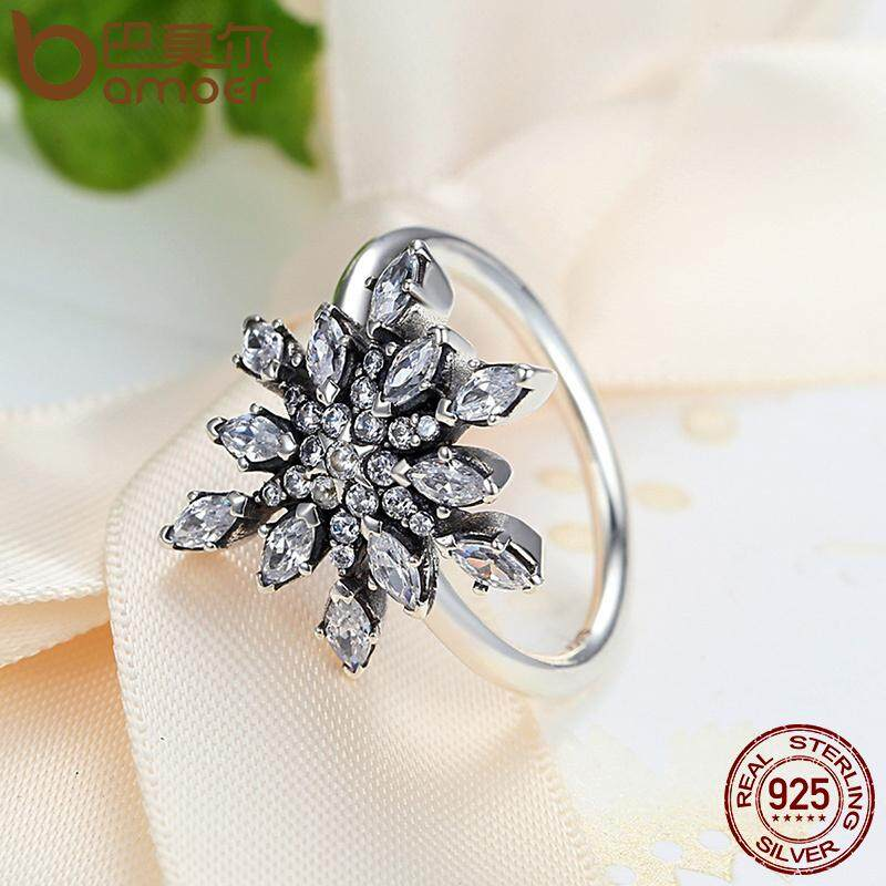 Bamoer 2016 Merek Baru Panas Koleksi 925 Sterling Silver Crystalized Kepingan Salju Kristal Biru Bening Cz Cincin Perhiasan 7 8 Ukuran Pa7159 Bamoer Diskon 40