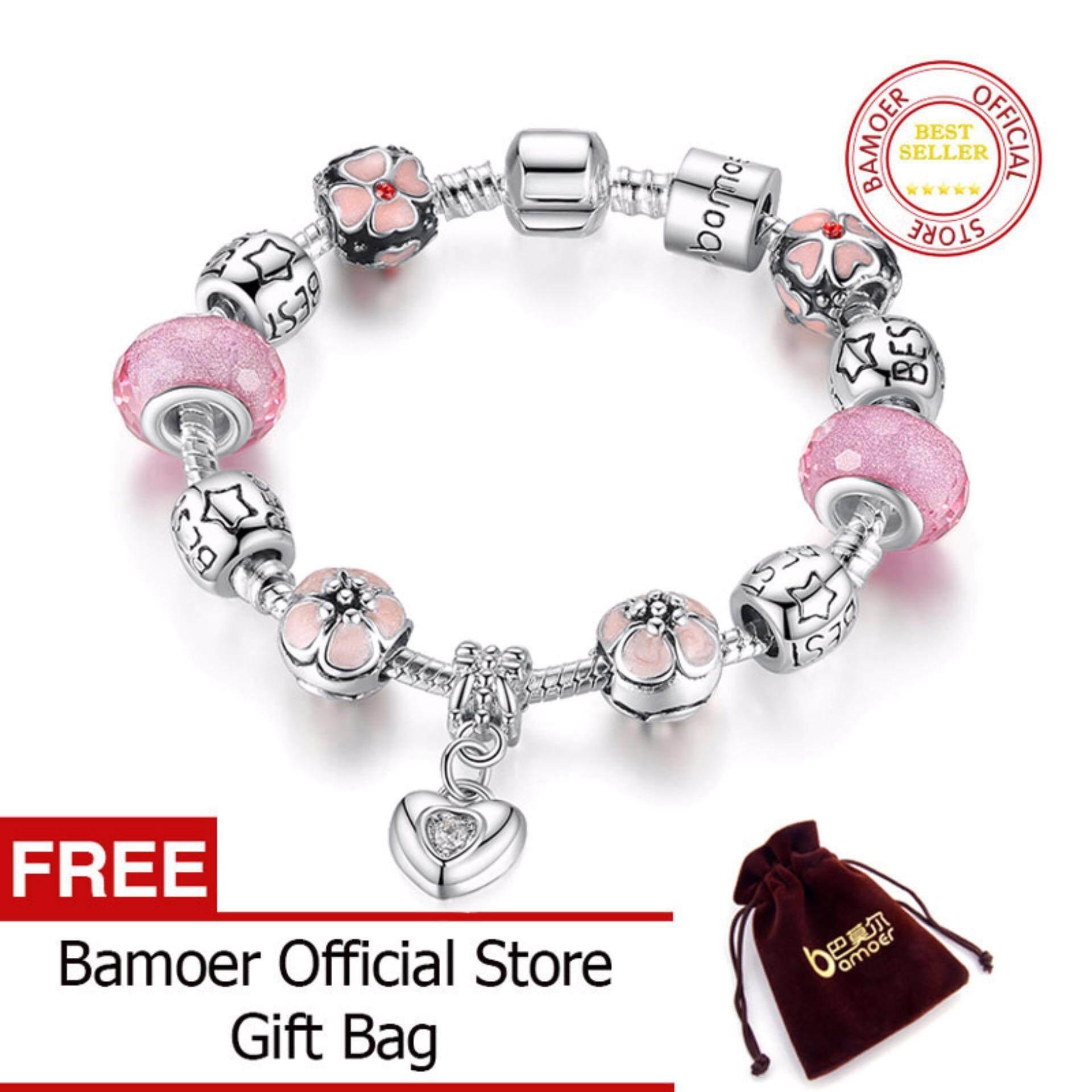 Perbandingan Harga Bamoer 925 Silver Charm 20Cm Bracelet With Heart Pendant Cherry Blossom Charm Pink Murano Glass Beads Friendship Bracelet Pa1459 Di Tiongkok