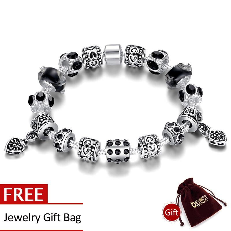 Toko Bamoer 925 Perak Gelang Charm Dengan Black Murano Glass Beads Handmade Diy Perhiasan Pa1396 Murah Tiongkok