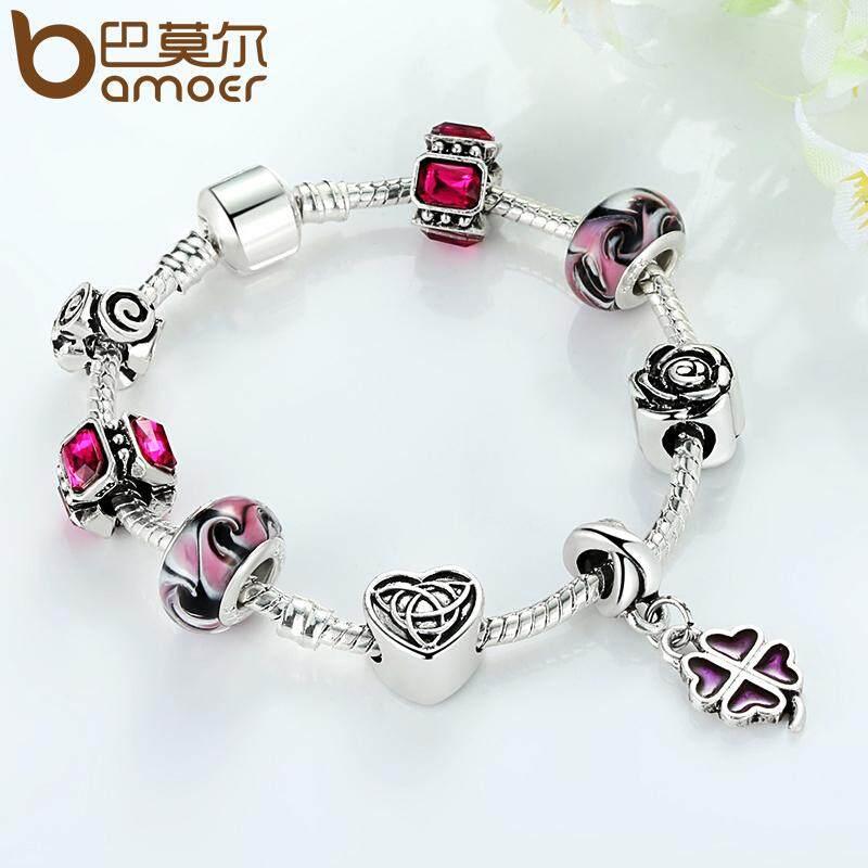 Spesifikasi Bamoer 925 Perak Four Leaf Clover Charm Bracelet Dengan Manik Manik Ungu Untuk Wanita Fashion Perhiasan Pa1436 Intl Yang Bagus Dan Murah