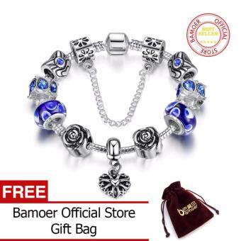 Harga BAMOER 925 Silver Heart Charm Bracelet Silver with Safety Chain& Blue Beads for Women Authentic Jewelry PA1454