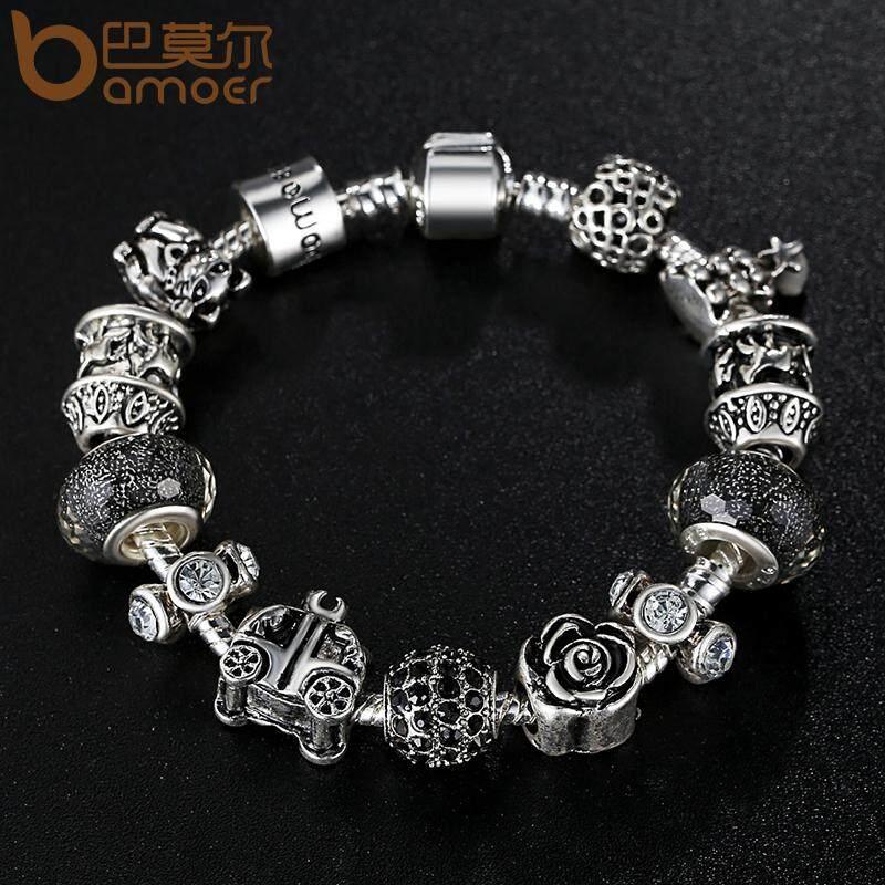 Harga Bamoer 925 Perak Retro Beads Rose Car Black Ball Murano Manik Manik Gelang Hadiah Tahun Baru Bamoer Pa1466 Di Tiongkok