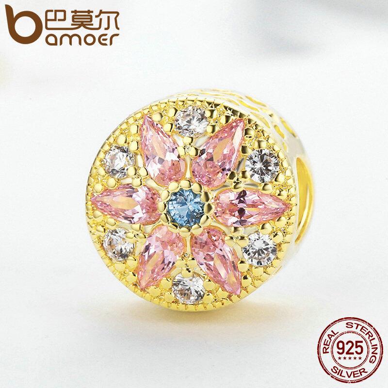 Beli Bamoer 925 Sterling Silver Gold Warna Bunga Mewah Beads Fit Asli Charm Bracelet Fine Jewelry Psc136 Intl Kredit