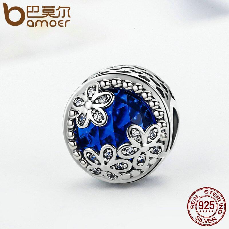 Harga Bamoer 925 Sterling Silver Blue Radiant Daisies Charm Beads Fit Asli Charm Bracelet Fashion Diy Perhiasan Psc112 Intl Yang Murah