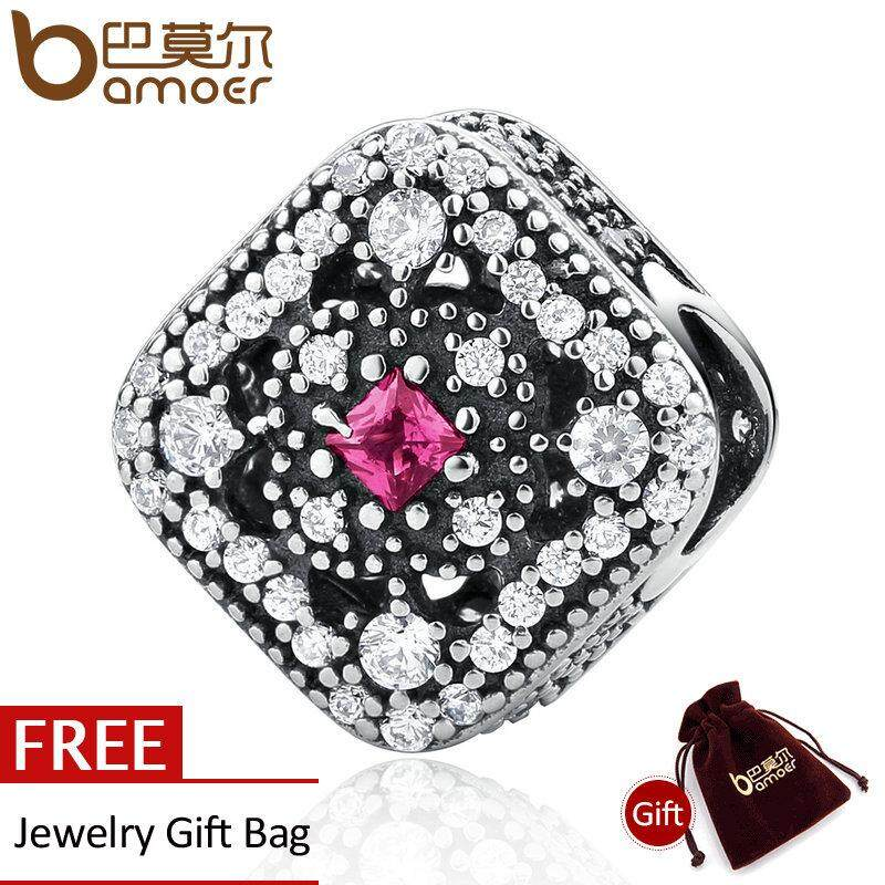 Ulasan Bamoer 925 Sterling Silver Fairytale Treasure Cerise Red Crystal Clear Cz Charm Fit Gelang Diy Perhiasan Psc019