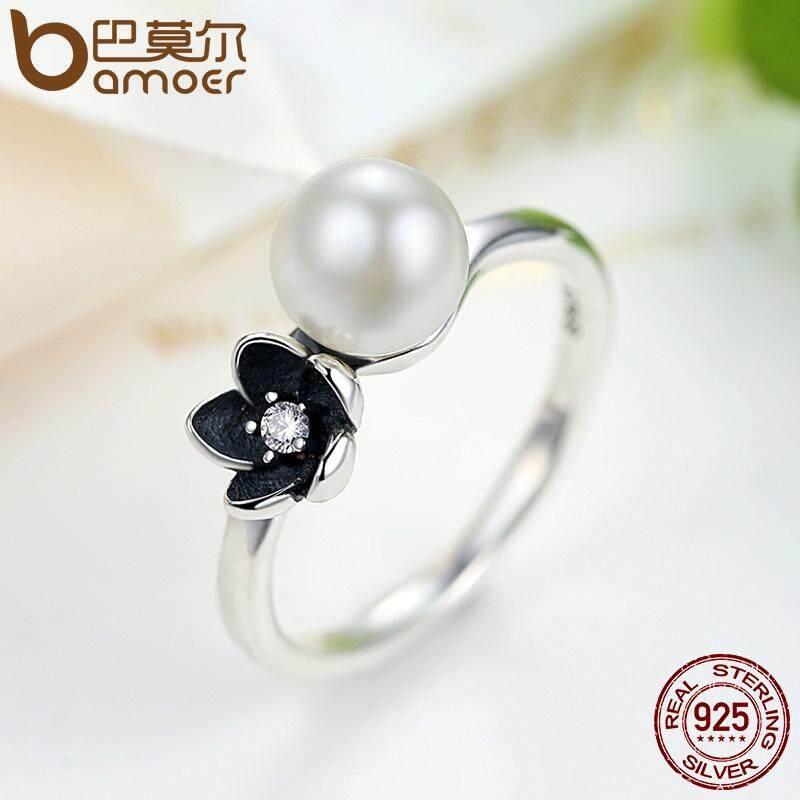 Promo Bamoer 2016 Koleksi Baru 925 Sterling Silver Mystic Floral Stackable Ring Pearl Black Enamel Ring Jewelry 6 7 8 9 Ukuran Pa7157 Akhir Tahun