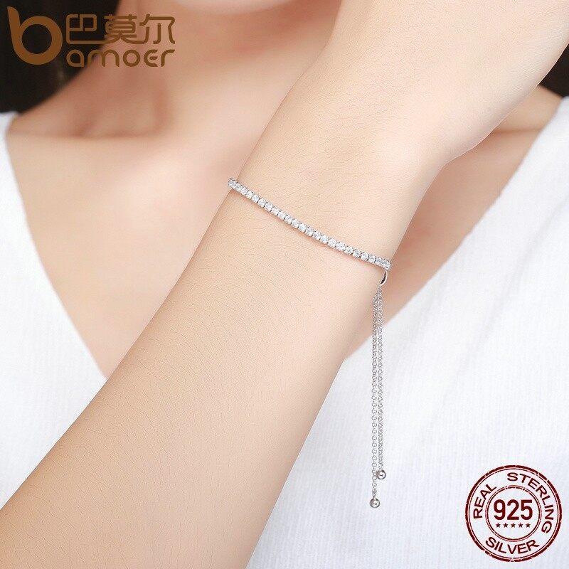 Bamoer 925 Sterling Perak Sparkling Helai Gelang Wanita Tautan Tenis Gelang Perhiasan Perak .
