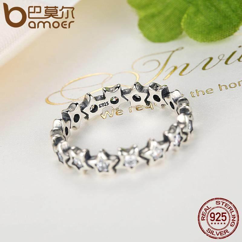 Toko Bamoer 925 Sterling Silver Starshine Star Finger Dengan Bening Cz Asli Fine Jewelry 6 7 8 9 Ukuran Pa7161 Online Di Tiongkok