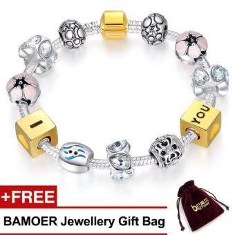 Harga BAMOER 925S Silver Charm Bracelet with Flower & I LOVE YOU Golden Bead Gold Charm for Her Wedding Gift PA1443