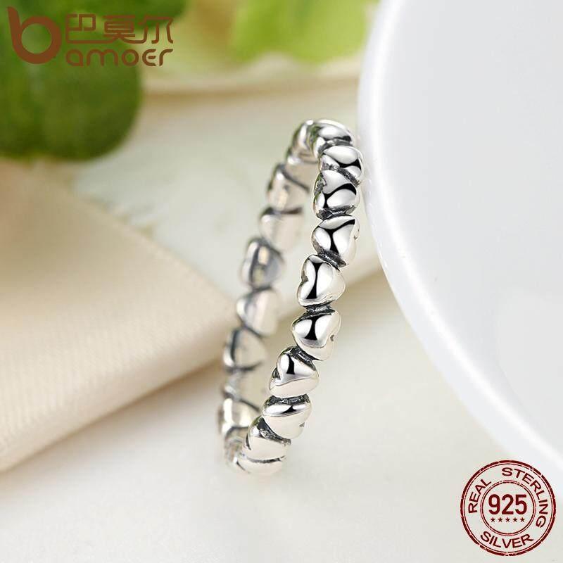 Harga Bamoer Otentik 925 100 Solid Sterling Silver Selamanya Cinta Jantung Finger Ring Asli Anniversary Jewelry 6 7 8 9 Ukuran Pa7108 Bamoer
