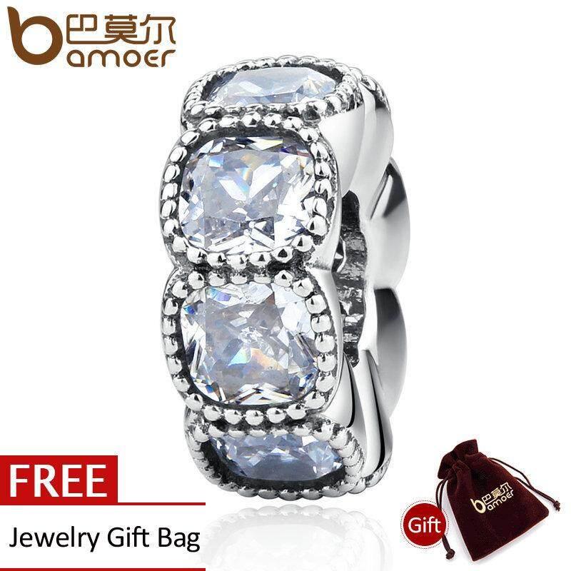 Harga Bamoer Otentik 925 Sterling Silver Memikat Cushion Bening Cz Putih Spacer Charms Fit Gelang Beads Pembuatan Perhiasan Psc020 Bamoer Online