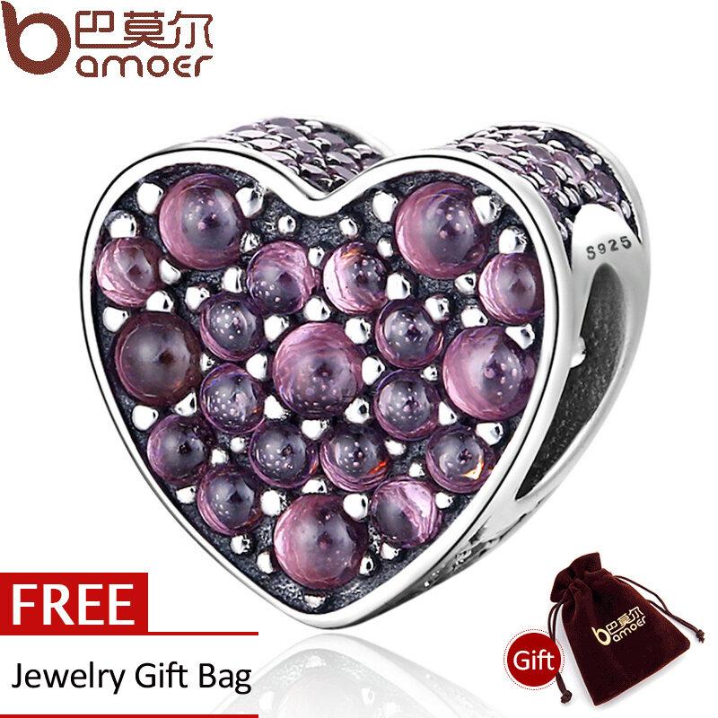 Diskon Bamoer Otentik 925 Sterling Silver Pink Shazzling Heart Pink Cz Charms Fit Charm Bracelets Bangles Diy Perhiasan Psc099 Akhir Tahun