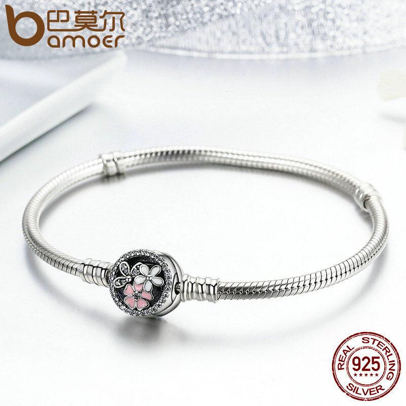 Promo Toko Bamoer Otentik 925 Sterling Silver Puitis Daisy Cherry Blossom Campuran Enamel Clear Cz Rantai Ular Gelang Perhiasan Pas919 Intl