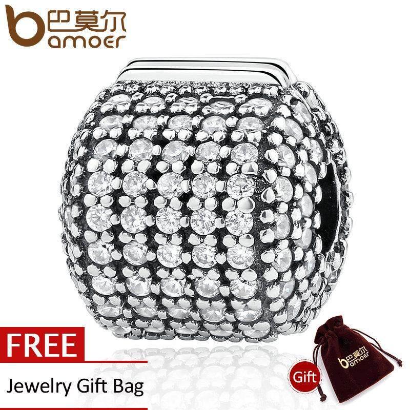 Promo Bamoer Otentik 925 Sterling Silver Stopper Pave Barrel Bening Cz Klip Charms Fit Gelang Wanita Diy Fashion Perhiasan Psc012 Tiongkok