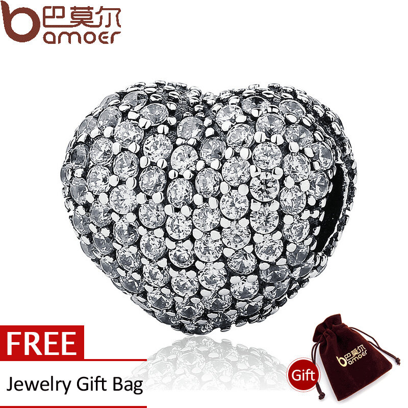 Jual Bamoer Otentik 925 Sterling Silver Stopper Putih Cz Pave Membuka Hatiku Klip Charms Fit Charm Gelang Perhiasan Psc108 Di Tiongkok