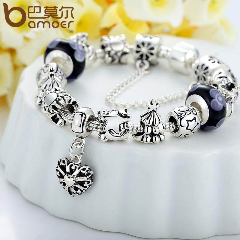 Bamoer Best Wishes Bracelet Bangles For Women Fashion Jewelry With Plated Beads And Charms Wholesale Pa1827 Original