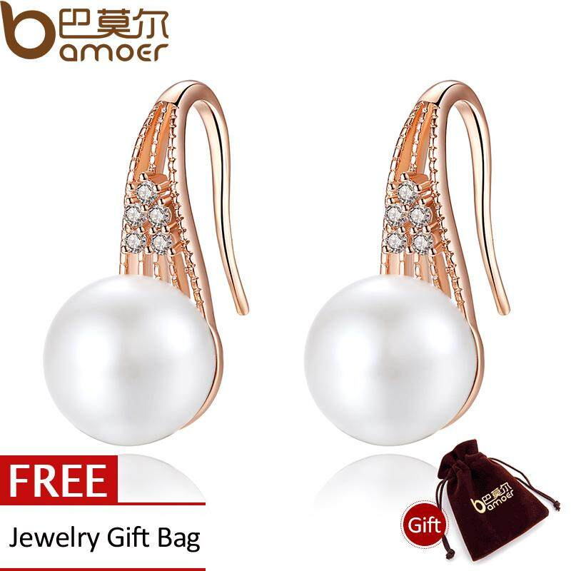 Bamoer Classic 18 K Emas Disepuh Pearl Drop Earrings Dengan Aaa Zircon Hadiah Natal Perhiasan Jie056 Bamoer Murah Di Tiongkok