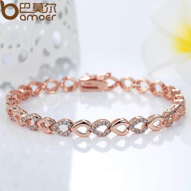 Harga Bamoer Indah 18 K Rose Emas Plated Heart Gantungan Rantai Gantungan Untuk Women Shining Aaa Cubic Zircon Crystal Jewelry Jib019 Satu Set