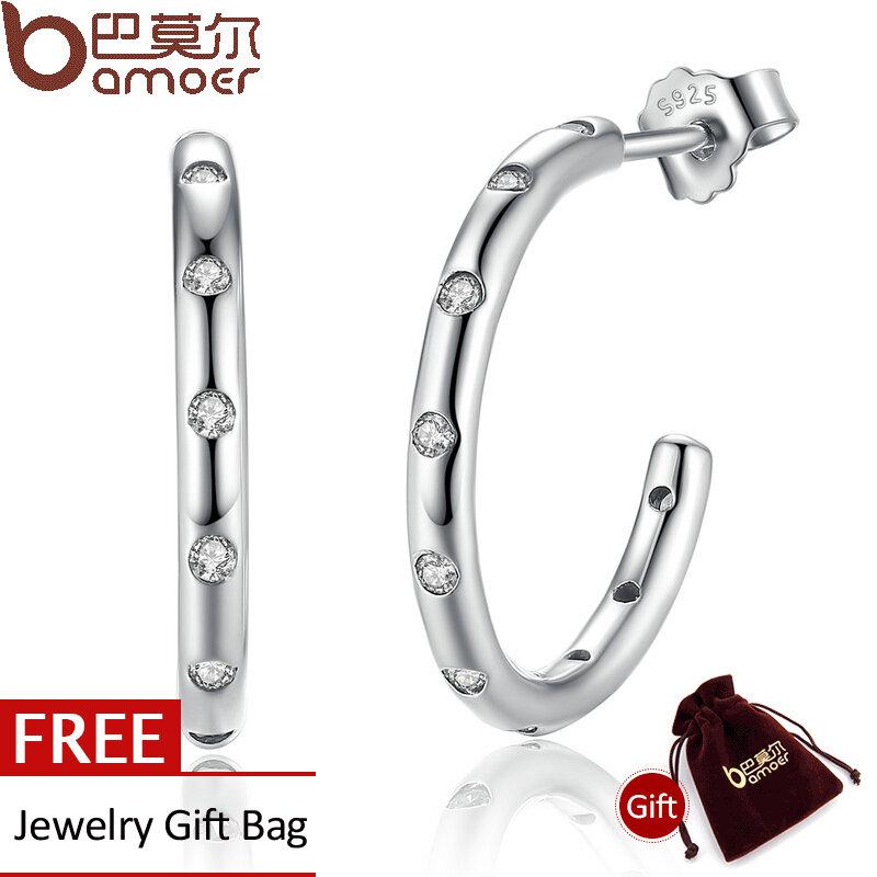 Spesifikasi Bamoer Asli 100 925 Sterling Silver Stackable Tetesan Stud Earrings Dengan Clear Cz Sterling Silver Perhiasan Brincos Sce041 Intl Baru