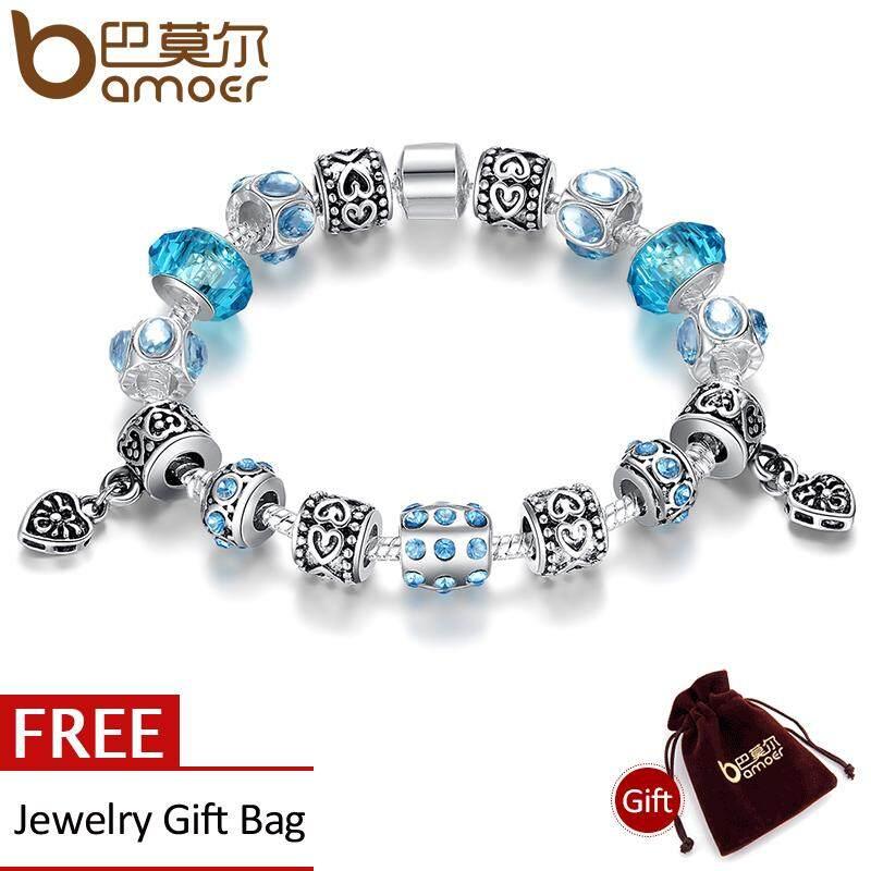 Harga Bamoer Hot Sell Gaya Eropa 925 Silver Crystal Charm 20 Cm Gelang Untuk Wanita Dengan Biru Murano Glass Beads Diy Perhiasan Pa1394 Origin