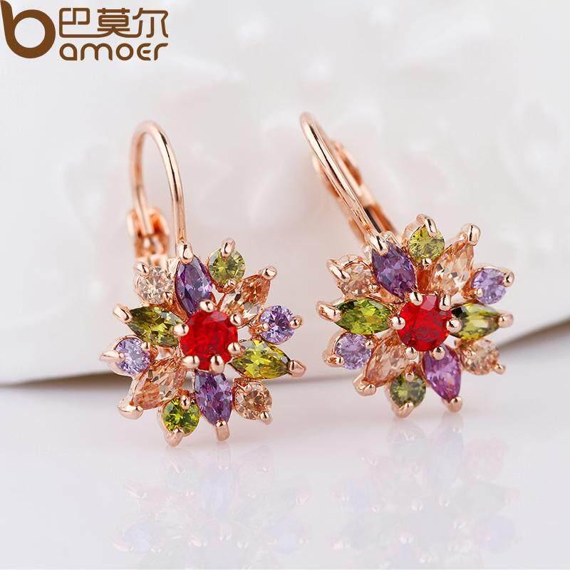 Beli Bamoer Hot Menjual Real 18 K Berlapis Emas Anting Tindik Dengan Multicolor Silver Aaa Zircon Untuk Wanita Perhiasan Jie042 Secara Angsuran