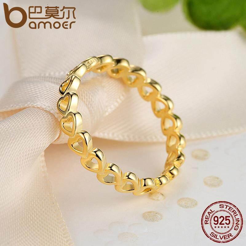 Ongkos Kirim Bamoer Linked Cinta Jantung Terbuka Stackable Ring Dengan 14 K Kuning Emas Untuk Wanita Perhiasan 7 8 Ukuran Pa7140 Di Tiongkok