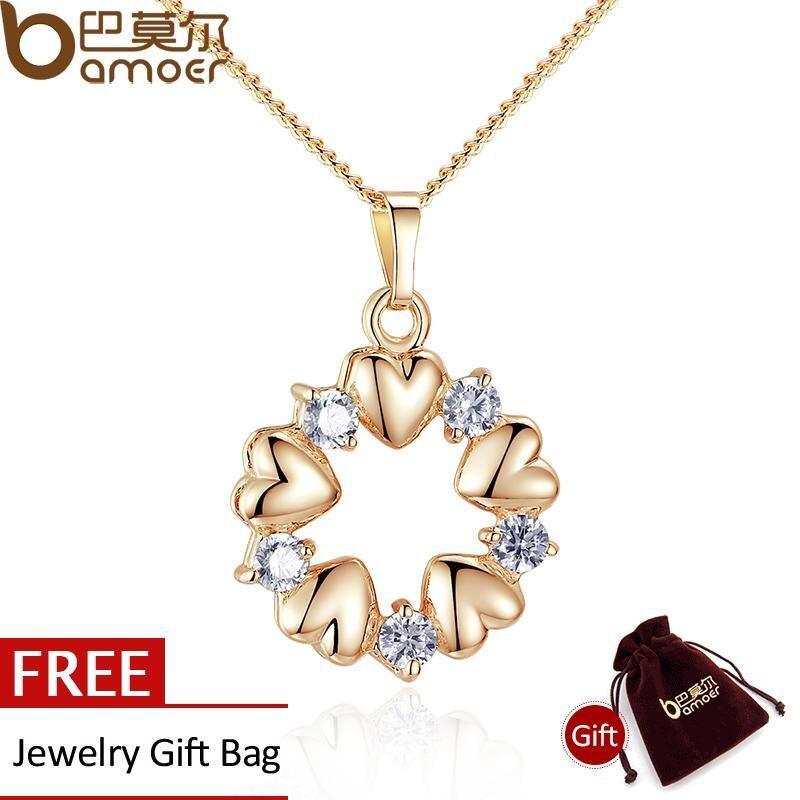 Dapatkan Segera Bamoer Luxury 18 K Gold Plated Heart Kalung Pendants Dengan Aaa Zircon Untuk Ulang Tahun Wanita Perhiasan Jin018