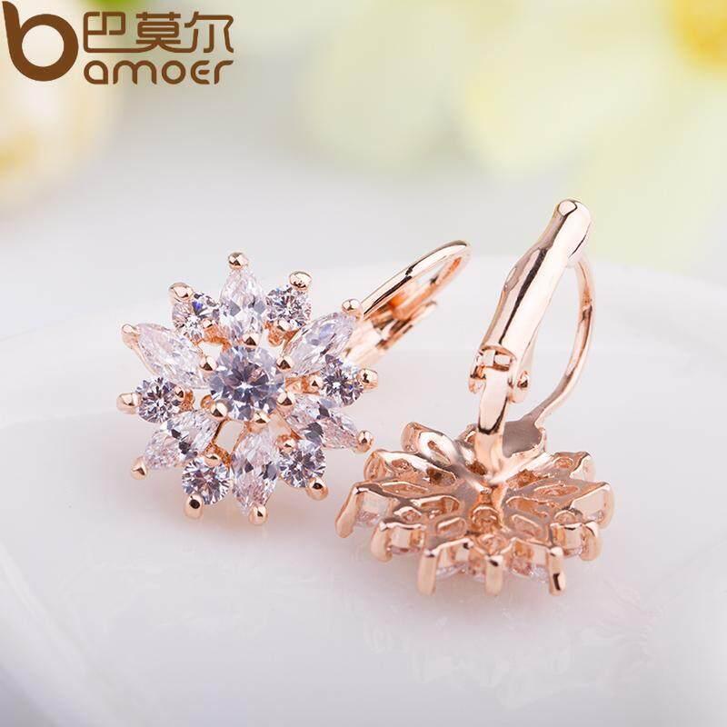 Jual Bamoer Luxury Champagne Gold Bunga Stud Earrings Dengan Zircon Stone Hadiah Ulang Tahun Wanita Bijouterie Jie014 Tiongkok