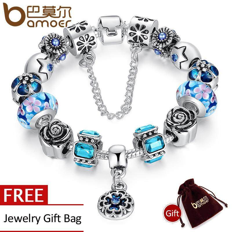 Promo Bamoer Silver Kaca Asli Bead Gelang Untuk Wanita Dengan Rantai Pengaman Berlian Imitasi Strand Pulseras Mewah Bijoux Pa1855 Tiongkok