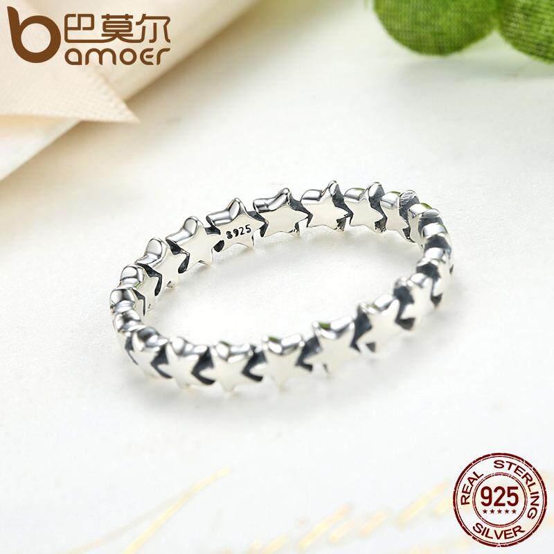 Diskon Produk Bamoer Jejak Bintang Stackable Cincin Jari Untuk Wanita Wedding 100 925 Sterling Silver Jewelry 2016 Koleksi Baru 6 7 8 9 Ukuran Pa7151
