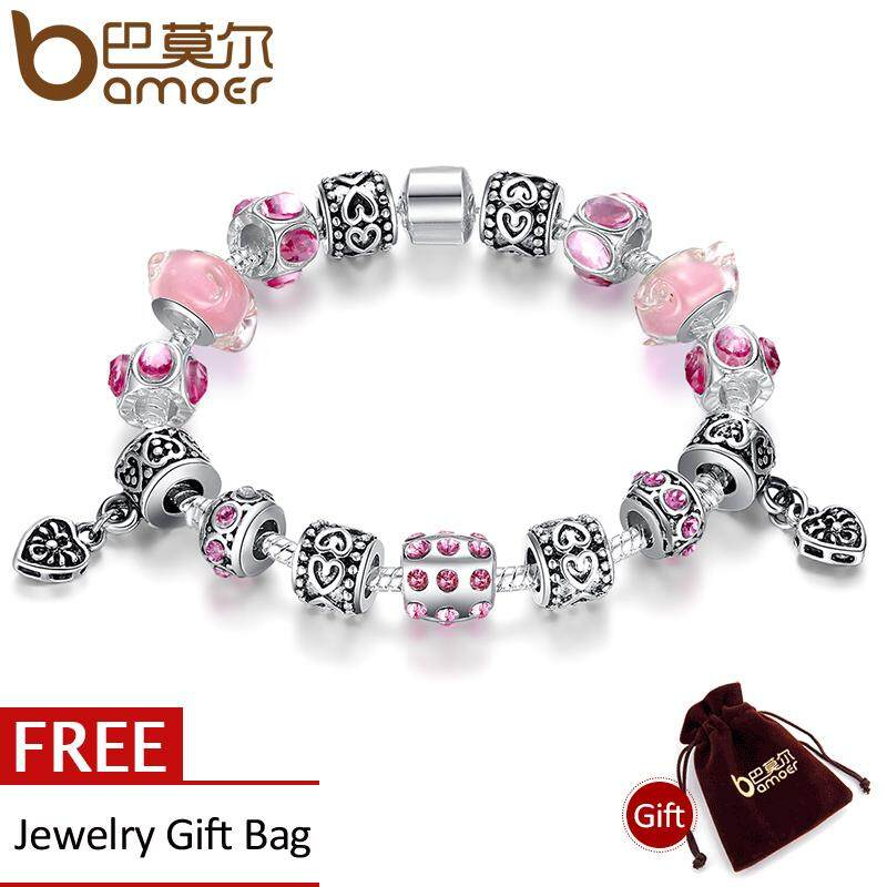 Beli Bamoer Top Sell 925 Silver Charm Bracelet Bangle For Women With Pink Glass Beads Jewelry Pa1393 Cicilan