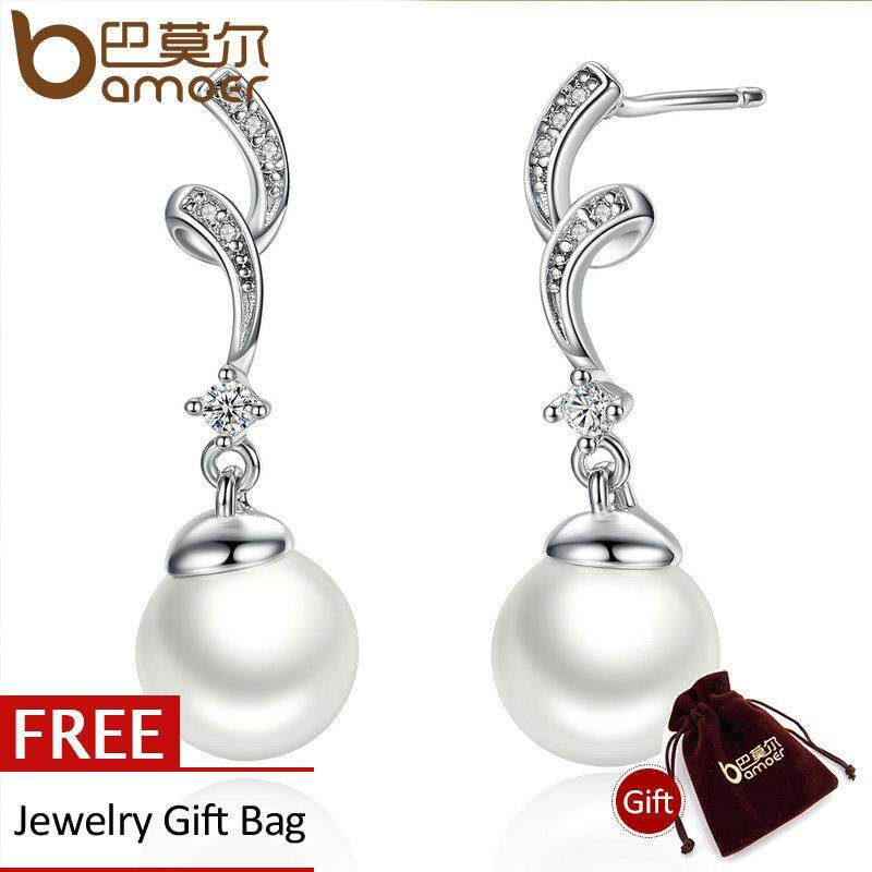 Cuci Gudang Bamoer Desain Unik 100 925 Sterling Silver Disimulasikan Pearl Wave Drop Earrings Wanita Fashion Perhiasan Sce035