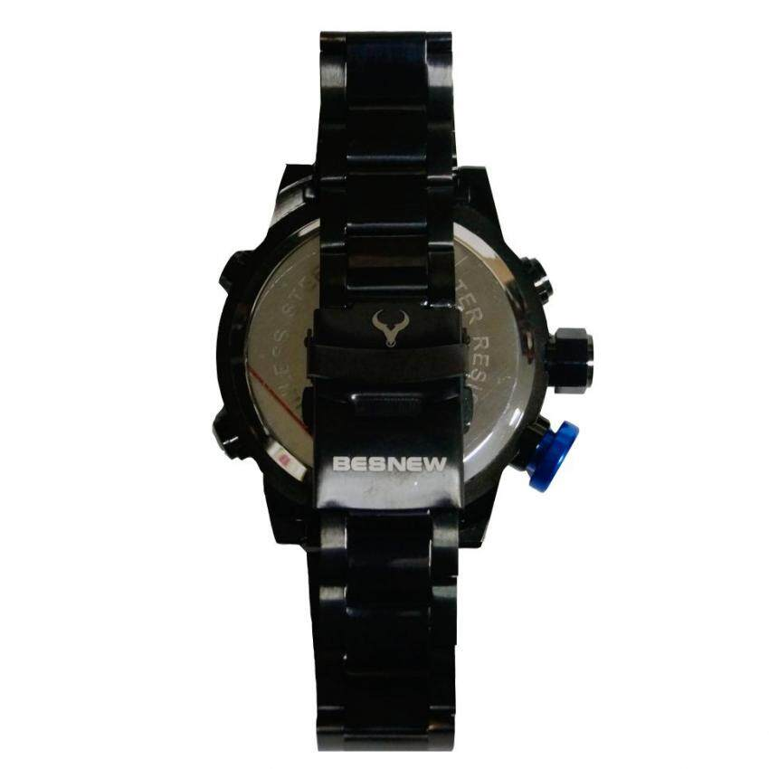 Besnew 642213 Men's Watch Sporty Dual Time Stainless Steel - Black