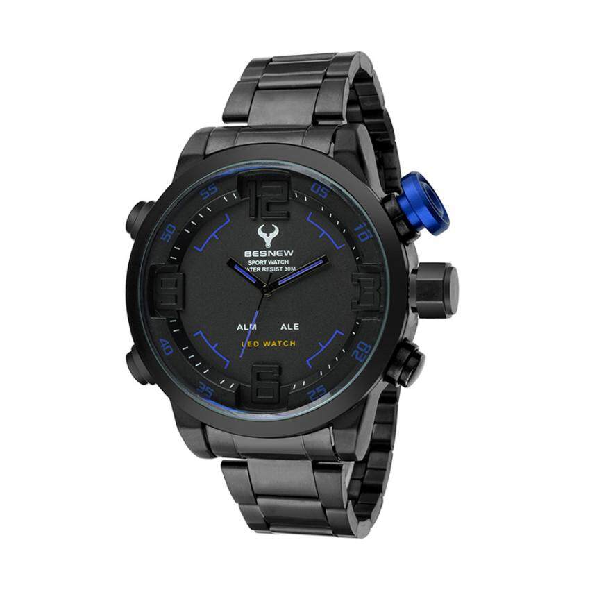 a4261c869d Besnew 642213 Men s Watch Sporty Dual Time Stainless Steel - Black
