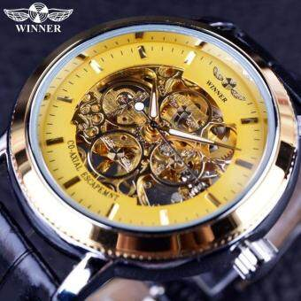 Harga BEST SELLING BUSINESS Malaysia SKELETON Luxury Men's AutomaticMechancial Wrist Watch Golden Strap Black Dial