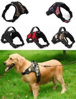 Harga Big Dog Soft Harness Adjustable Pet Dog Big Exit Harness VestCollar Strap for Small and Large Dogs Pitbulls - Camouflage flag(M)