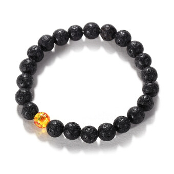 Harga Black Lava Rock Beaded Shamballa Stretch Energy Bracelet