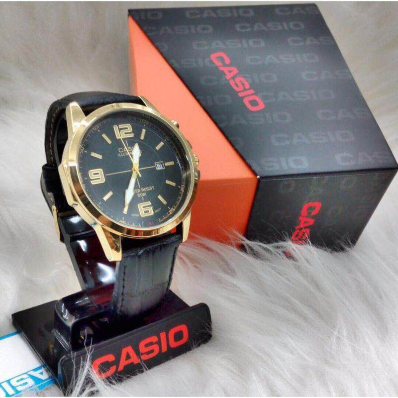 Black Leather Strap with Black Dial (Gold Lug) Casio Watch Malaysia